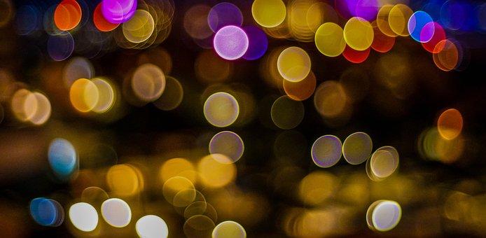 Bokeh, Cancun, Mexico, Night Lights, Colorful