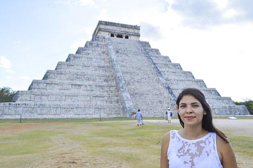 Pyramid, Maya, Mexican, Girl, Mexico, Tourism