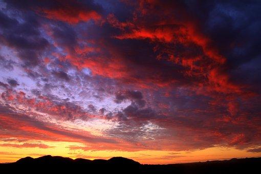 Arizona, Sunset, Monsoon, Desert, Storm, Cloud, Rain