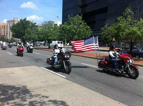 Motorcycle, Flag, Constitution Avenue, Dc, Memorial Day