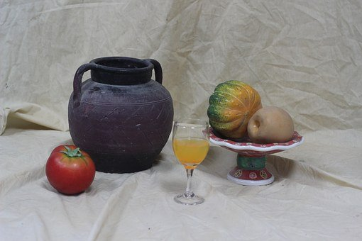 Sketch, Watercolor, Painting, Nature Morte, Still Life