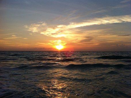 Sun, Sunset, Ocean, Sea, Sky, Ray Of Sunshine, Summer