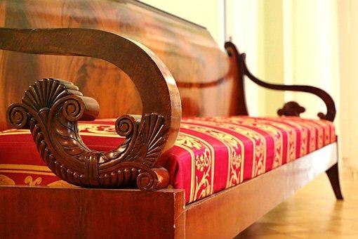 Sofa, Vintage, Furniture, Museum, Antiques, Pattern
