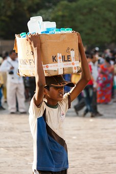 Water, Seller, India, Boy, Head, Carry, Box, People