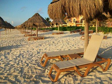 Beach, Rest, Relax, Sand, Lounge Chair, Palapas