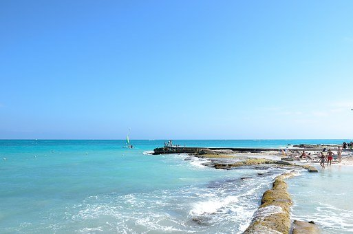 Hotel, Mexico, Water, Blue, Resort, Beach, Rocks, Ocean