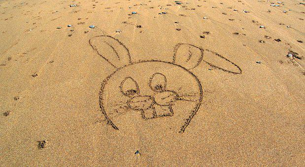 Rabbit, Cartoon, Beach, Sand, Drawing, Sketch, Bunny