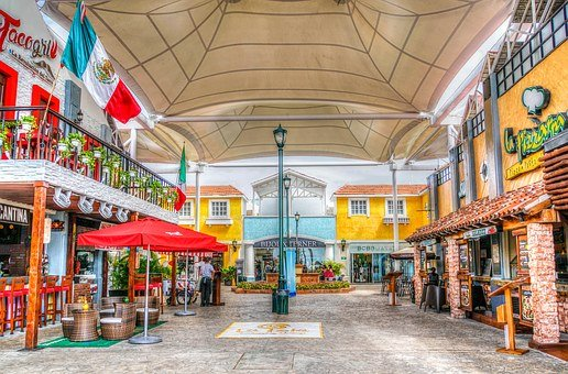 Cancun, Mexico, Bridge, Shopping Center, Downtown