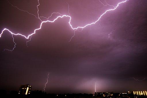 Lightening, Purple, Sky, Night, Weather, Thunder