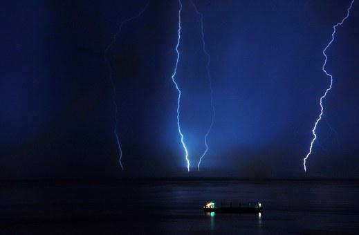 Lightning, Sea, Sky, Storm, Nature, Ocean, Light, Water