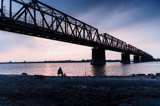 Songhua River, Riverside Railway Bridge, Sketch, Dusk