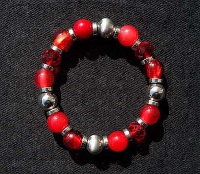 Bracelet, Red, Beads, Jewellery, Sparkling, Noble