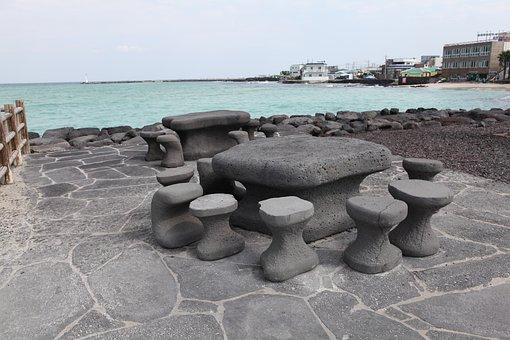Stone Statue, Emerald Sea, Jeju Island