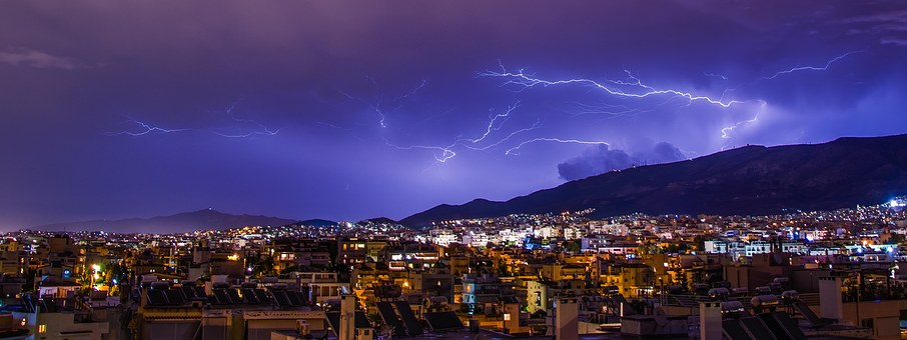 Lighting, Athens, Storm, Greece, Sky, Thunder