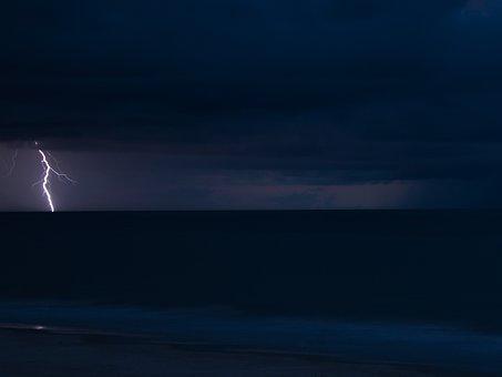 Lightning, Storm, Ocean, Clouds, Rain, Sea, Thunder