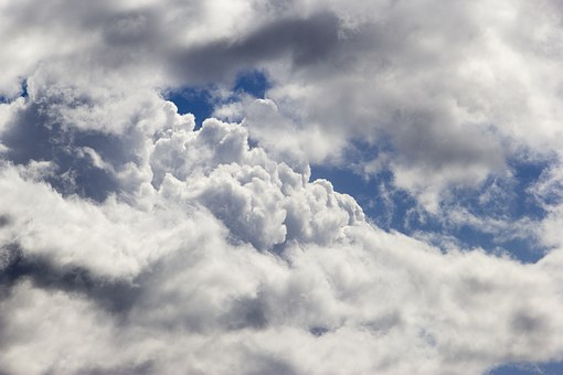 Clouds, Puffy, Sky, Weather, Summer, Blue, White