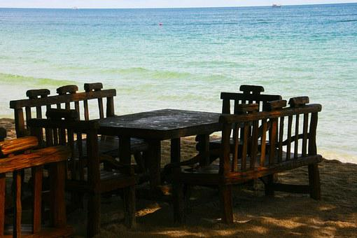 Table And Chairs, Ocean, Sand, Beach, Sea, Summer