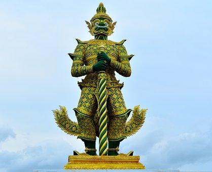 Giant, Statue, Idol, Temple Of The Emerald Buddha