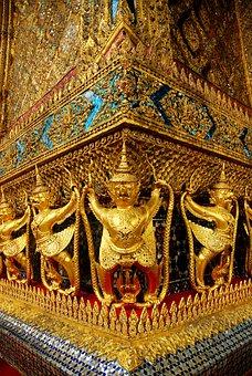 Temple Of The Emerald Buddha, Gold, Thai Art, Thailand