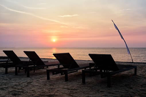 Sunrise, Thailand, Beach, Chairs, Lounge, Sky, Tranquil