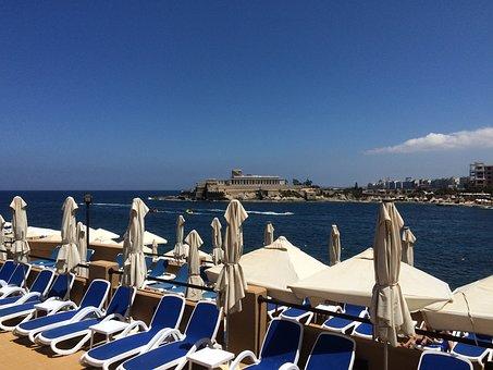Malta, Lounge Chairs, Parasol, The Mediterranean Sea