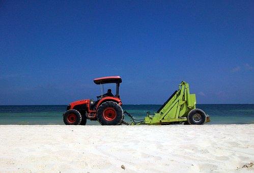 Beach, Maintenance, Cleaning, Tractor, Sargo, Sand, Sea