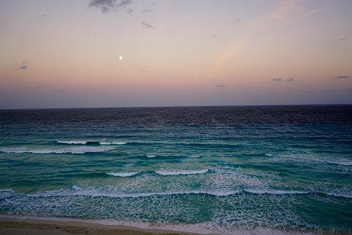 Cancun, Mexico, Beach, Sunset, Waves, Moon, Tropical