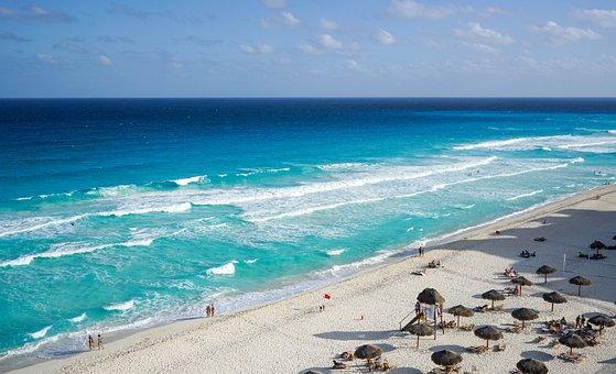 Cancun, Mexico, Beach, Waves, Tropical, Travel, Ocean