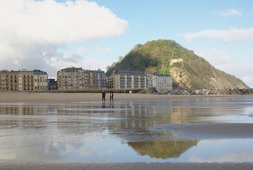 Urgull, San Sebastian, Beach, Reflection