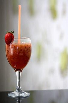 Smoothies, Strawberry, Glass, Desert, Fruit, Drink