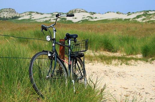 Bike, Dunes, Sand, Sand Beach, Rest, Beach, Coast, Blue