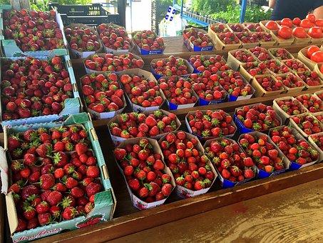 Strawberries, Fruit, Market, Fresh, Baskets, Food