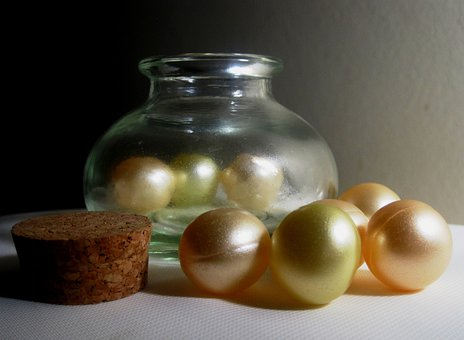 Balls, Gel, Fragrant, Pearly, Bottle, Small, Glass
