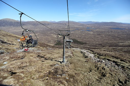 Mountain Bike, Gelncoe, Scotland, Cable Car