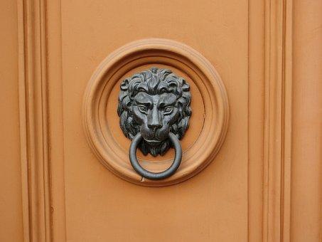 Doorknocker, Call Waiting, Door, Lion, Bronze, Input