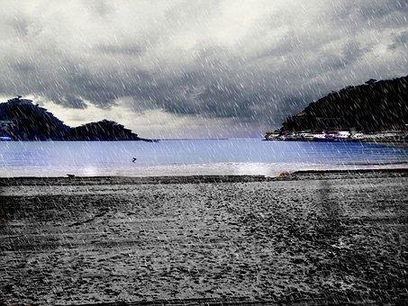 Rain, Nature, Beach, Winter, Cold, Water, Clouds