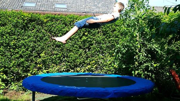 Jump, Trampoline, Play, Fun, Outdoor, Happy, Garden, Up