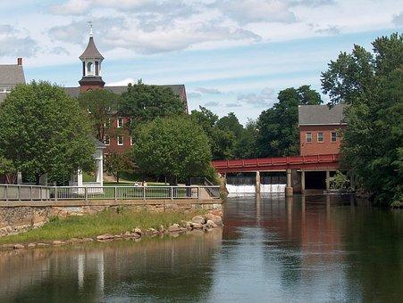 New Hampshire, Belknap Mills, River, Water, Town