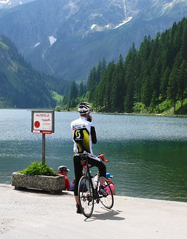 Bike, Cyclists, Road Bike, Stop, Allgäu, Lake, Tannheim