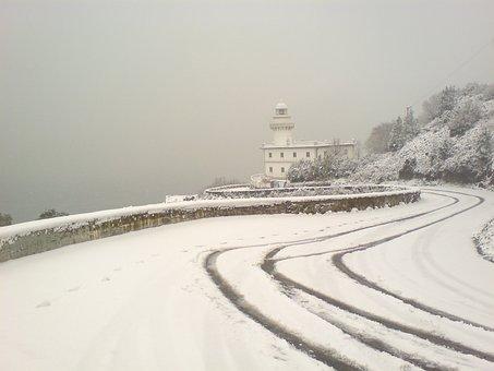 Igeldo Lighthouse, San Sebastian, Snowy Landscape