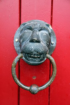 Doorknocker, Red, Lion, Lion Head, Ring, Thumper, Input