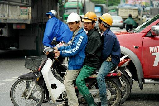 Men On Bike, Vietnam, Asia, Street, Traffic, Vehicle