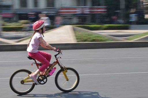 Bicycle, Child, Girl, Cycling, City, Mexico, Bike