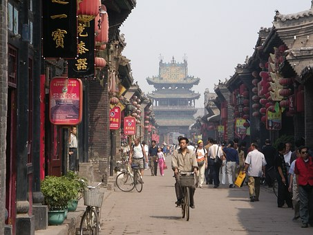 China, Xian City Of Pingyao, Buddhist Temple, Bike Man