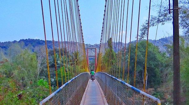 Hanging Bridge, Bike Rider, Rope Bridge
