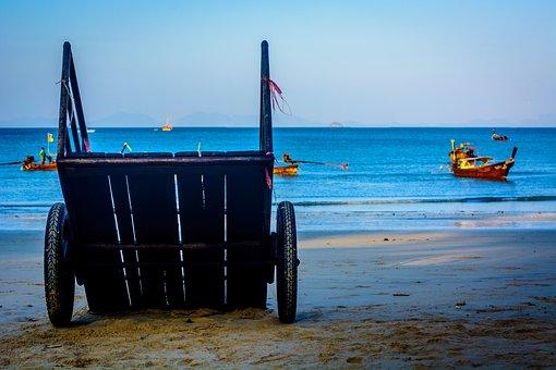 Cart, Wheel, Sand, Beach, Blue, G0lden Yellow, Ocean