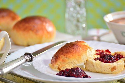 Breakfast, Buttery Scones, Jam, Coffee, Knife, Coffe