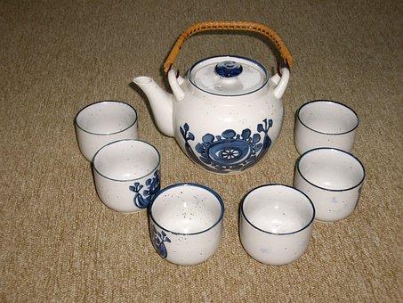 Tableware, Coffee, Porcelain, Blue, T, Coffe Machine