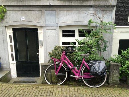 Bike, Amsterdam, Entrance, Door, Netherlands, Pink