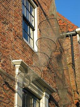 House, Just, Fishnet, Facade, Stone, Elburg